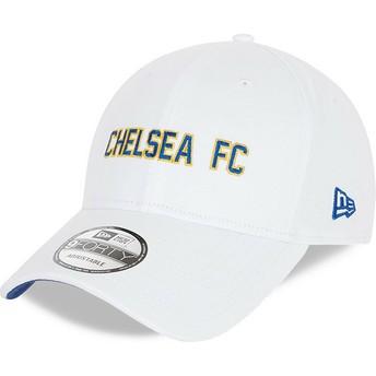 Gorra curva blanca ajustable 9FORTY Cotton Wordmark de Chelsea Football Club de New Era
