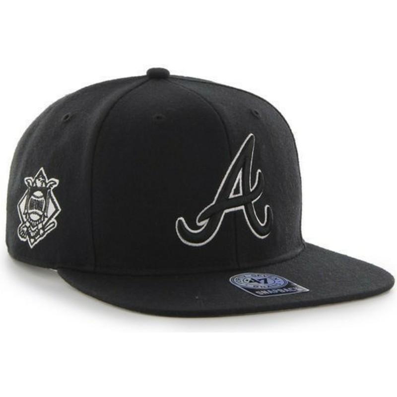 0b7b69d426298 Gorra plana negra snapback de Atlanta Braves MLB Sure Shot de 47 ...