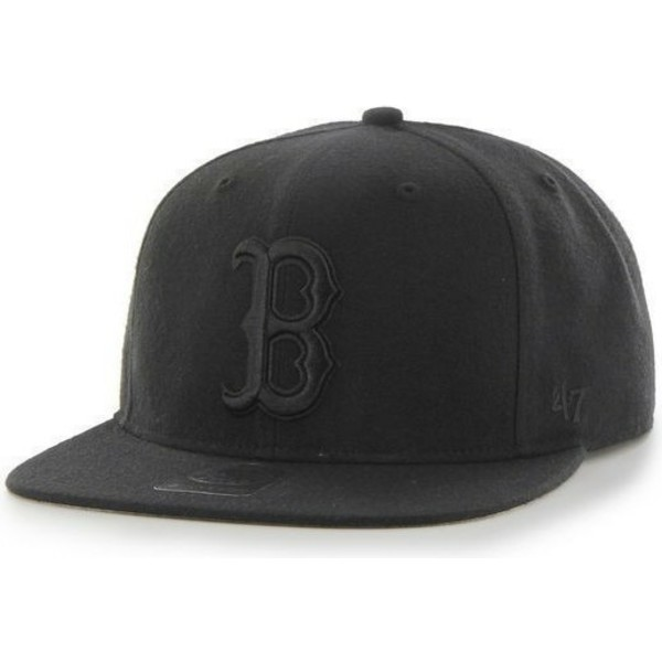 gorra-plana-negra-snapback-con-logo-negro-de-boston-red-sox-mlb-sure-shot-de-47-brand