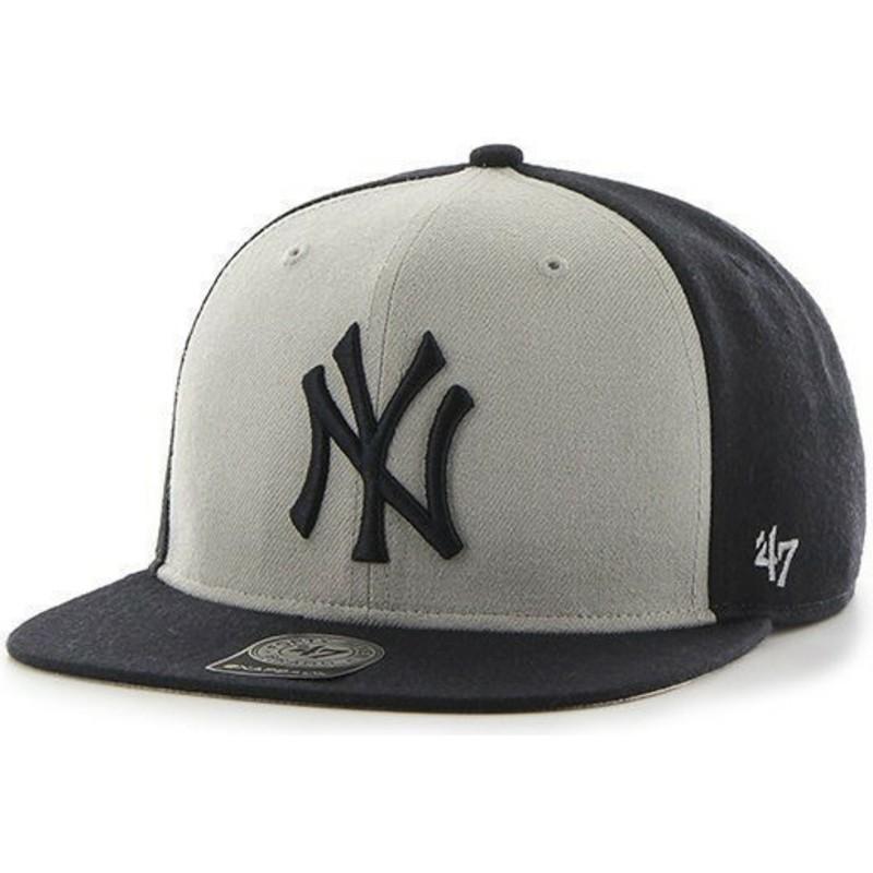 Gorra plana negra y blanca snapback de New York Yankees MLB Sure ... 39b0ed2b2a0