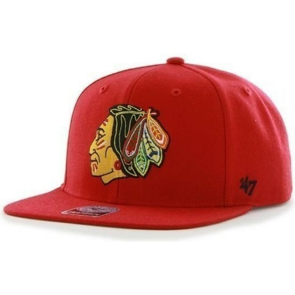 gorra-plana-roja-snapback-de-chicago-blackhawks-nhl-sure-shot-de-47-brand