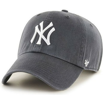 Gorra curva gris oscuro de New York Yankees MLB Clean Up de 47 Brand