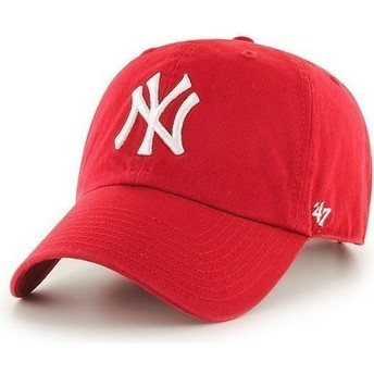 Gorra curva roja de New York Yankees MLB Clean Up de 47 Brand