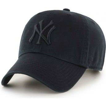 Gorra curva negra oscuro con logo negro de New York Yankees MLB Clean Up de 47 Brand