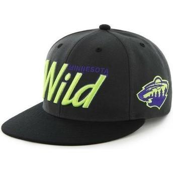 Gorra plana negra snapback con logo de letras de Minnesota Wild NHL de 47 Brand