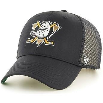 Gorra trucker negra con logo fronal grande de NHL Anaheim Ducks de 47 Brand