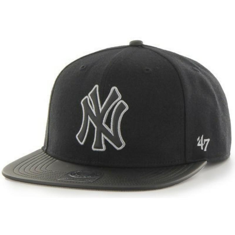 974642d7e600f Gorra plana negra snapback lisa de MLB New York Yankees de 47 Brand ...