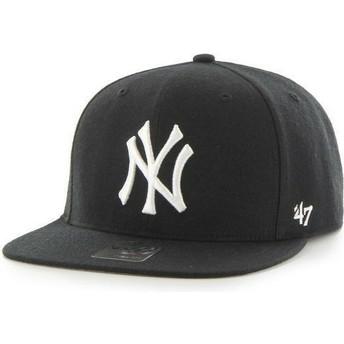 Gorra plana negra snapback lisa de MLB New York Yankees de 47 Brand