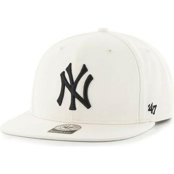 Gorra plana blanca lisa snapback de MLB New York Yankees de 47 Brand