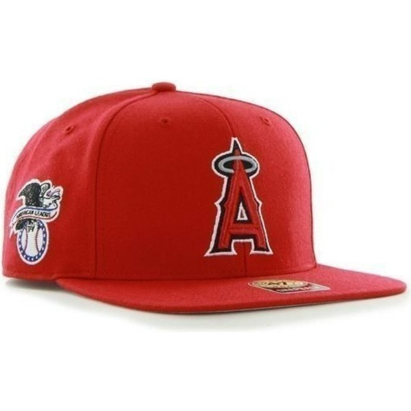 Gorra plana roja snapback lisa con logo lateral de MLB Los Angeles ... 7961d053add