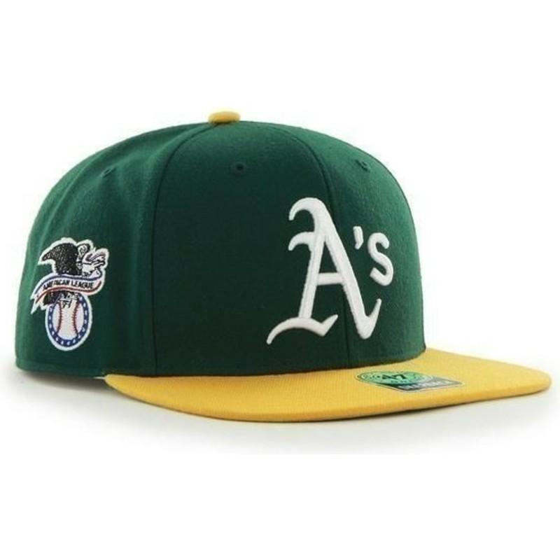 Gorra plana verde snapback lisa con logo lateral de MLB Oakland ... f546eca4164