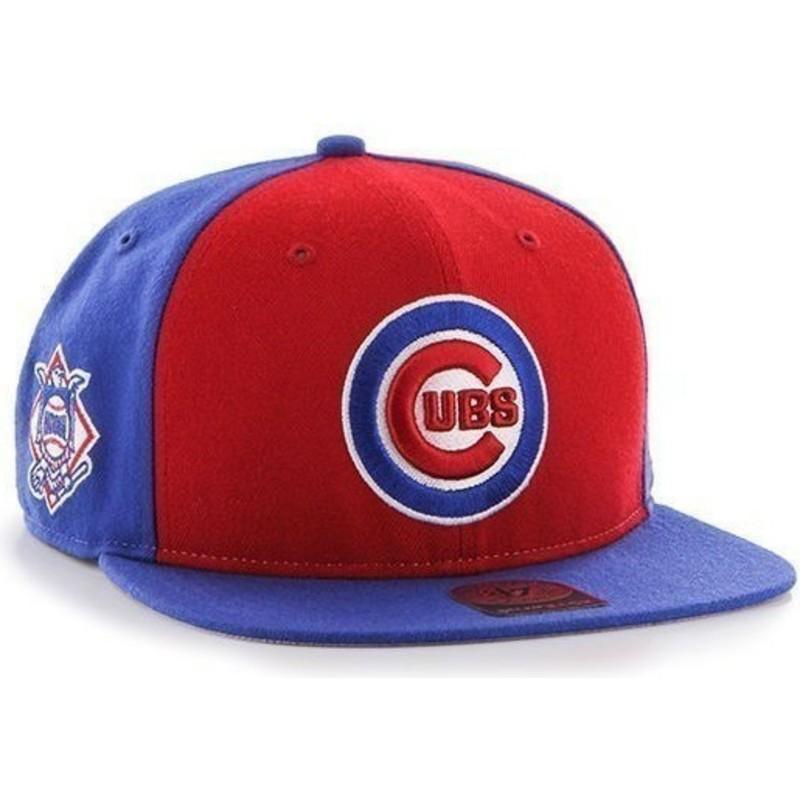 0a67892ed7fb4 Gorra plana azul snapback lisa con logo lateral de MLB Chicago Cubs ...