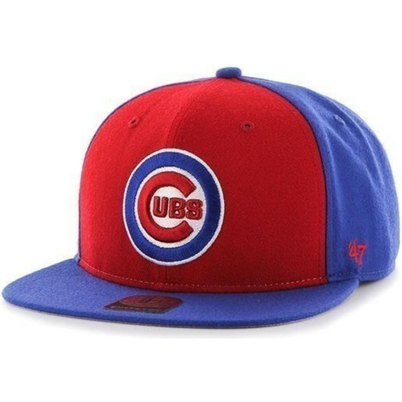 f275094a6e95d Gorra plana azul snapback lisa con logo lateral de MLB Chicago Cubs ...