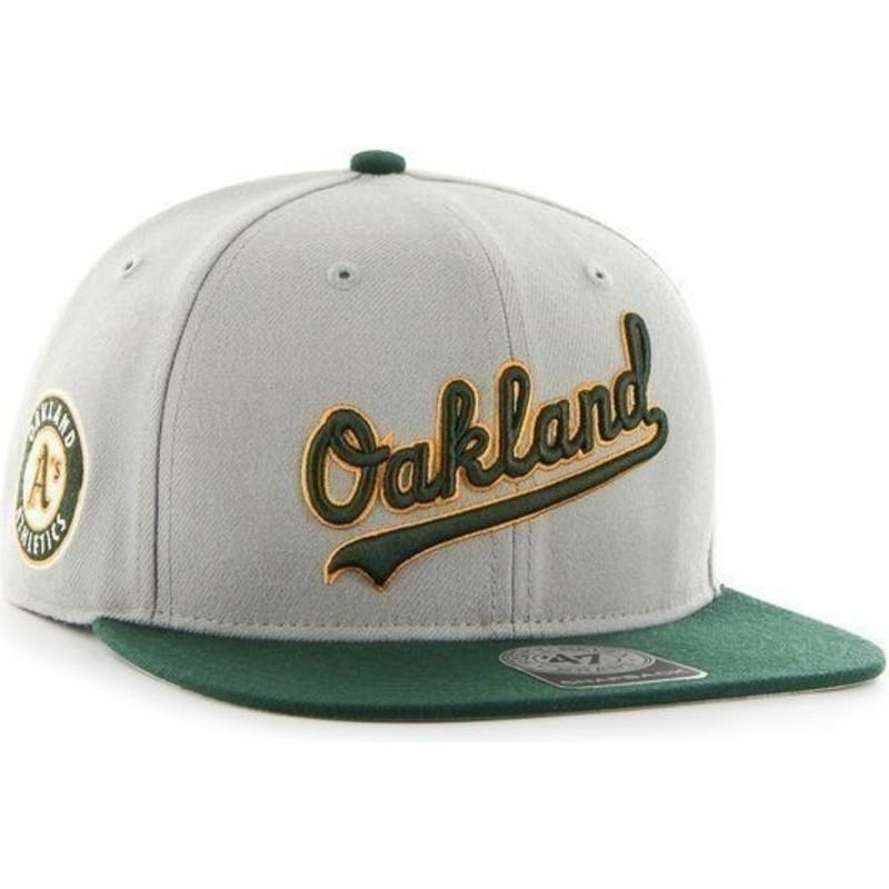 Gorra plana gris snapback con logo lateral de MLB Oakland Athletics ... 46c8413a51c