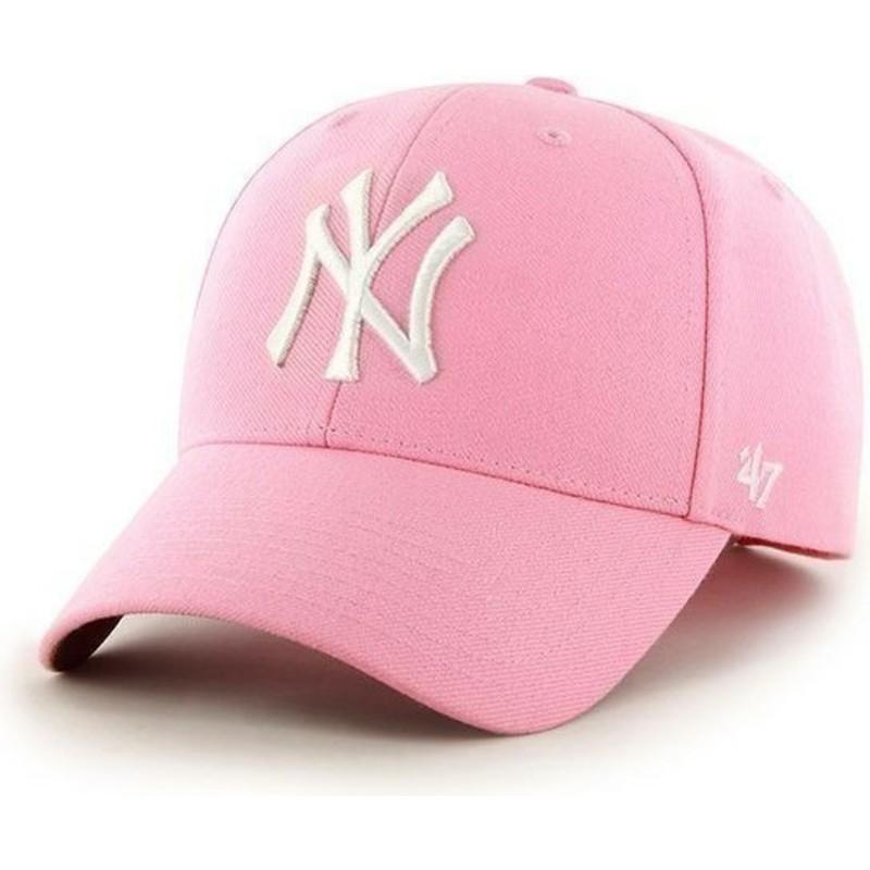 993b482e51bd8 Gorra visera curva rosa lisa de MLB New York Yankees de 47 Brand ...