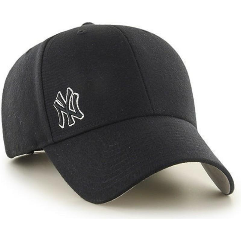 0b1c53e963045 Gorra visera curva negra lisa con logo pequeño de MLB New York ...