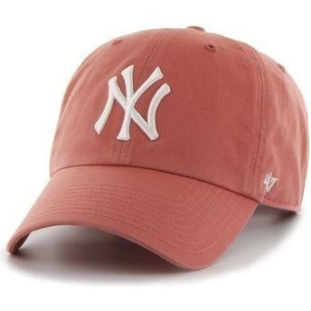 Gorra visera curva roja con logo frontal grande de MLB New York Yankees de 47 Brand