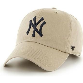 Gorra visera curva beige con logo frontal grande de MLB New York Yankees de 47 Brand