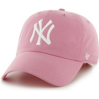 Gorra visera curva rosa con logo frontal grande de MLB New York Yankees de 47 Brand