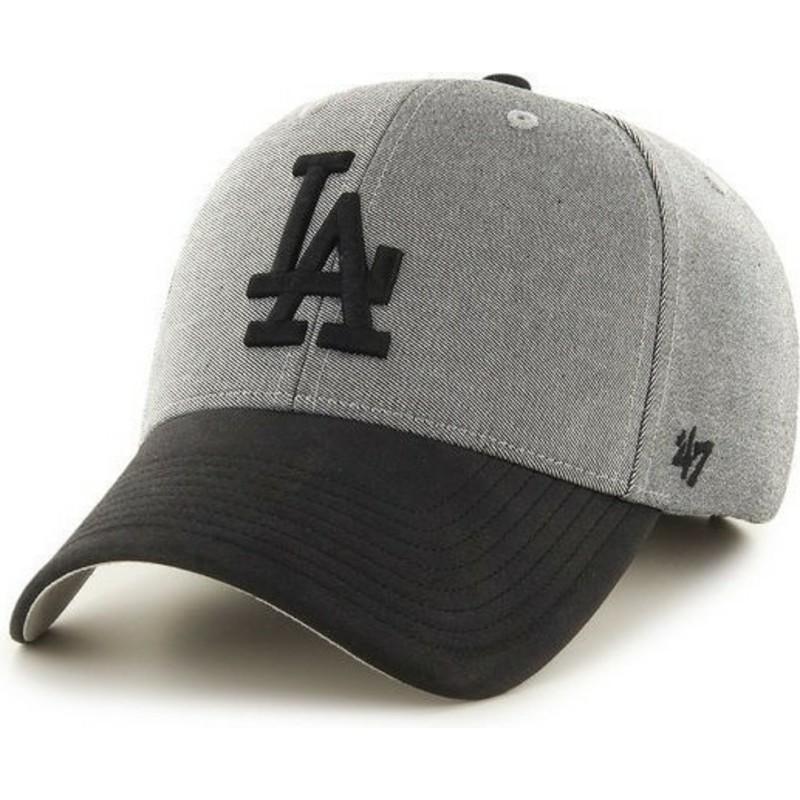 fae7ecdb209f8 Gorra curva gris con visera y logo negro de Los Angeles Dodgers MLB ...