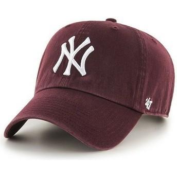 Gorra curva granate de New York Yankees MLB Clean Up de 47 Brand