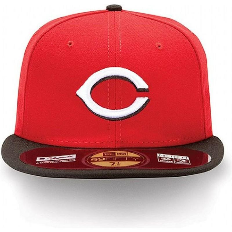 7ac39092fde4f Gorra plana roja ajustada 59FIFTY Authentic On-Field de Cincinnati ...