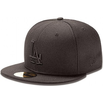 Gorra plana negra ajustada 59FIFTY Black on Black de Los Angeles Dodgers MLB de New Era