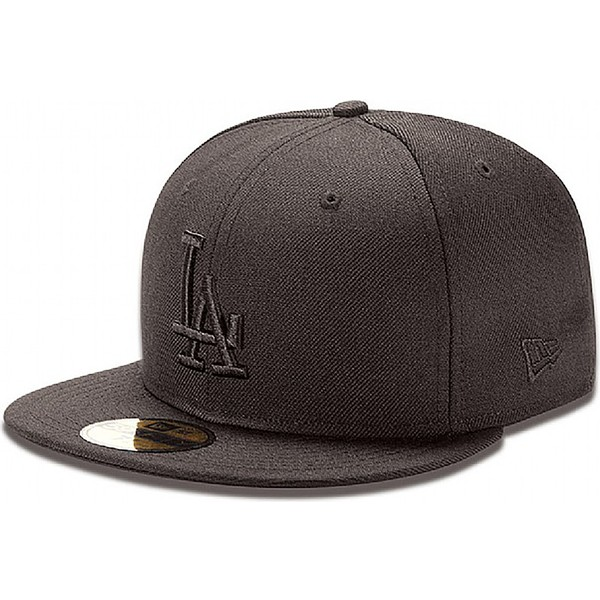f16892194d523 ... Los Angeles Dodgers MLB de New Era. gorra -plana-negra-ajustada-59fifty-black-on-black-