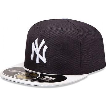 Gorra plana azul marino ajustada 59FIFTY Diamond Era de New York Yankees MLB de New Era