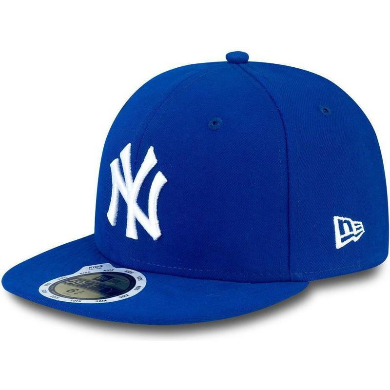 88fd4a7c88ece Gorra plana azul ajustada para niño 59FIFTY Essential de New York ...