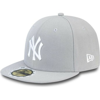 Gorra plana gris ajustada con logo blanco para niño 59FIFTY Essential de New York Yankees MLB de New Era