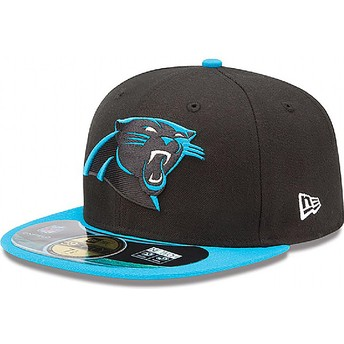 Gorra plana negra ajustada 59FIFTY Authentic On-Field Game de Carolina Panthers NFL de New Era