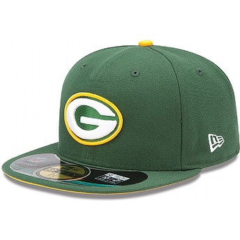 Gorra plana verde ajustada 59FIFTY Authentic On-Field Game de Green Bay Packers NFL de New Era