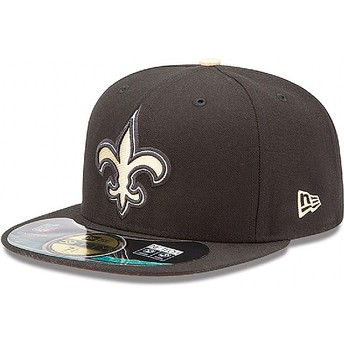 Gorra plana negra ajustada 59FIFTY Authentic On-Field Game de New Orleans Saints NFL de New Era