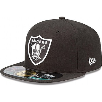 Gorra plana negra ajustada 59FIFTY Authentic On-Field Game de Oakland Raiders NFL de New Era
