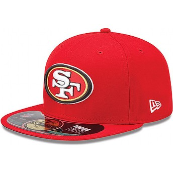 Gorra plana roja ajustada 59FIFTY Authentic On-Field Game de San Francisco 49ers NFL de New Era