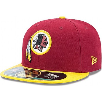 Gorra plana roja ajustada 59FIFTY Authentic On-Field Game de Washington Redskins NFL de New Era
