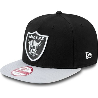 Gorra plana gris snapback 9FIFTY Cotton Block de Oakland Raiders NFL de New Era