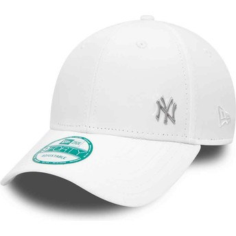 Gorra curva blanca ajustable 9FORTY Flawless Logo de New York Yankees MLB de New Era