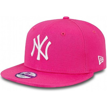 Gorra plana rosa snapback para niño 9FIFTY Essential de New York Yankees MLB de New Era