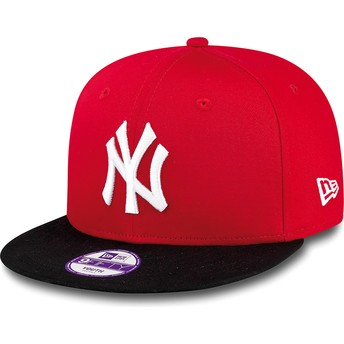 Gorra plana roja snapback para niño 9FIFTY Cotton Block de New York Yankees MLB de New Era