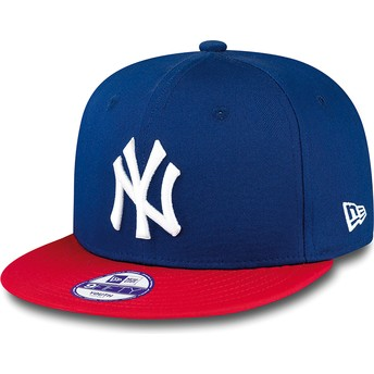 Gorra plana azul snapback para niño 9FIFTY Cotton Block de New York Yankees MLB de New Era