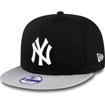 Gorra plana negra snapback para niño 9FIFTY Cotton Block de New York Yankees MLB de New Era