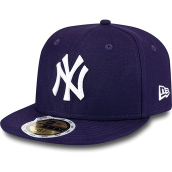 Gorra plana violeta ajustada para niño 59FIFTY Essential de New York Yankees MLB de New Era